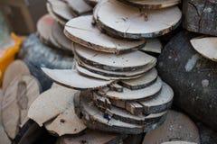 Discos de madera Imágenes de archivo libres de regalías
