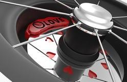 Discos del freno del coche con los corazones Fotografía de archivo