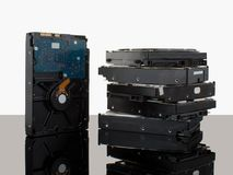 Discos duros para el ordenador, interfaz del sata Imagen de archivo