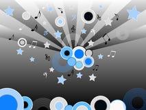 Discos e estrelas musicais ilustração stock