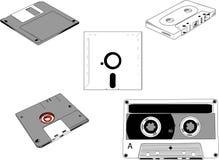 Discos y cassettes Imágenes de archivo libres de regalías