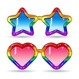 Discosonnenbrille in Form der Herzen und Sterne, Rahmen in den Regenbogenfarben Lizenzfreie Stockfotos