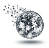 Discospiegelball, der in silberne Fragmente bricht lizenzfreies stockbild