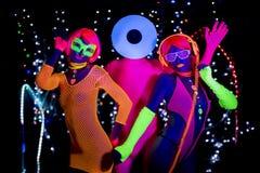 Discoteca al neon uv di incandescenza partty fotografie stock libere da diritti