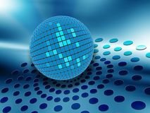 Discoteque. Blue discoteque ball with effects royalty free illustration