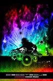Discoteque DJ Flugblatt mit realen Flammen Stockfoto