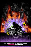 Discoteque DJ Flugblatt mit realen Flammen Stockbild