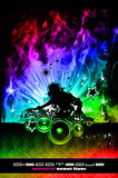 Discoteque Dj Flyer with Real Flames Stock Photo