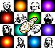 Discoteque Flugblatt mit vielen DJ-Schattenbildern Stockbild