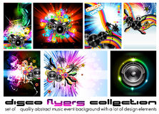 Discoteque Flyer - Set 6. Nine Abstract Music Background for Discoteque Flyer with a lot of desgin elementes - Set 6 Stock Photo