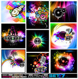 Discoteque Flyers Collection - Set 7. 9 Abstract Music Backgrounds for Discoteque Flyer with a lot of desgin elementes - Set 7 Stock Photography