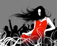 Discotheque. Disco party. Girl in red Royalty Free Stock Photo