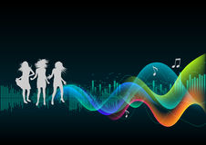 Discotheque. Clubbing girls, abstract music background Royalty Free Stock Photos