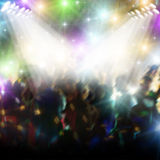 Discotheque. Dancing in discotheque with colored light Stock Photography