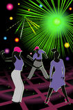 Discotheque. Bright illustration discotheque whith silhouettes people Stock Photo