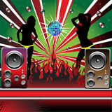 Discotheque. Colorful background with loudspeakers, mirrorball, burning fire and two female silhouettes dancing Royalty Free Stock Photos