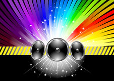 Discotheque banner template with rainbow. Clip-art Stock Photography