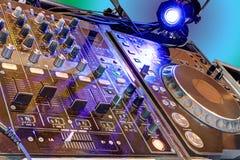 Discotheque. Disc jockey's sound system Stock Photos