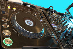 Discotheque. Disc jockey's sound system Royalty Free Stock Images