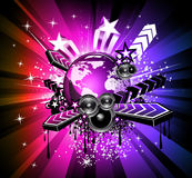 Discotheque Flyers with Rainbow Colours. Internatiional  Music Event Background for Discotheque Flyers with Rainbow Colours Royalty Free Stock Photos