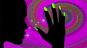Discotheque girl. Girl looks his hand under the influence psychedelic Royalty Free Stock Images