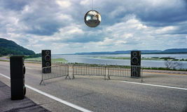 Discotheque on the higway. Discotheque glitter ball on the highway Stock Images