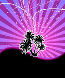 Discotheque night palm banner Royalty Free Stock Photo