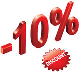 Discount 1. 10% Discount sign with button isolated on white Vector Illustration