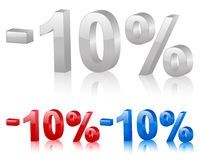 Discount 10%. Discount symbol 10% isolated on a white background. Vector illustration Royalty Free Stock Photography