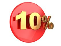 Discount 10 percent. Discount coupon: 10 percent on a red circle Royalty Free Illustration