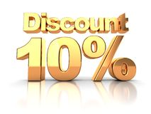 Discount 10 percent. Discount coupon with 10 percent on a white background Vector Illustration
