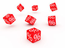Discount. Symbols of percent on falling red cubes Stock Photography