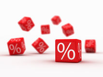 Discount. Symbols of percent on falling red cubes Stock Illustration
