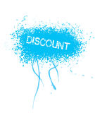 Discount. Text on blue grunge background Royalty Free Stock Photography