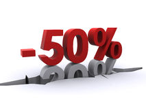 Discount. 50 percent discount pressing the 20 percent discount into the hole in the ground Stock Photos