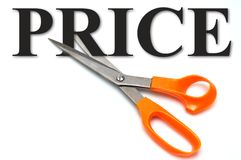 Discount. Scissors and text - price. Conceptual - discount Royalty Free Stock Photo