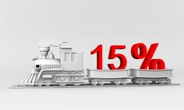 Discount. 3d train trailer carries 15% discount vector illustration