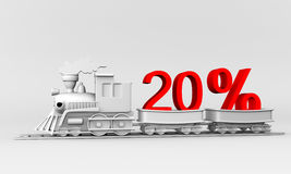 Discount. 3d train with the car carries 20% discount Royalty Free Stock Images