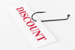 Discount. Concept of discount and hook Royalty Free Stock Photography