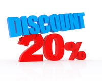 Discount 20%. Signs showing 20% discount and clearance royalty free illustration