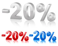 Discount 20%. Discount symbol 20% isolated on a white background. Vector illustration stock illustration
