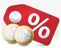Discount. Illustration of discount and affordable shopping in Euro Stock Photos