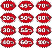 Discount. Label templates with different percentages Stock Photo
