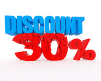 Discount 30%. Signs showing 30% discount and clearance Stock Images