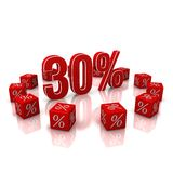Discount 30. Discount cubes on a white background Stock Photo