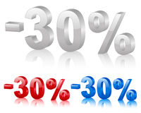 Discount 30%. Discount symbol 30% isolated on a white background. Vector illustration Royalty Free Stock Photo