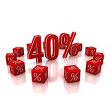 Discount 40. Discount cubes on a white background Stock Photos