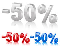 Discount 50%. Discount symbol 50% isolated on a white background. Vector illustration Stock Photos