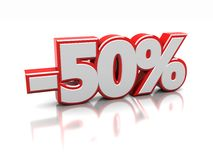 Discount 50 percent. Fifty  percent  on a white background, 3d image Royalty Free Stock Photos