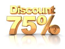 Discount 75 percent. Discount coupon with 75 percent on a white background Royalty Free Stock Images